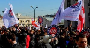 Hundreds March In Support Of Opposition Channel In Tbilisi Protesters Rage Against Management Transition Of Opposition TV Channel
