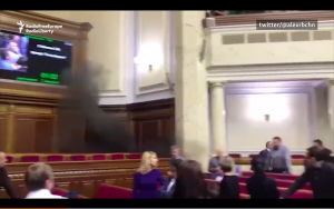 Video: Smoke Grenade Thrown By Ukrainian MP During Parliament Session