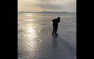 Video: The 76 Year Old Babushka Who Skates Alone On Lake Baikal