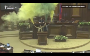 Watch Armenian Lawmakers Set Off Smoke Bombs In Parliament