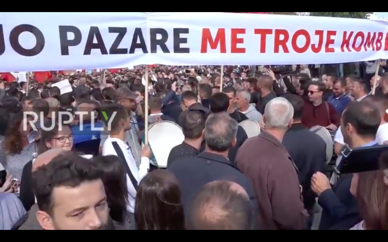 Video: Thousands Protest In Pristina Over Possible Land Swap Between Serbia And Kosovo