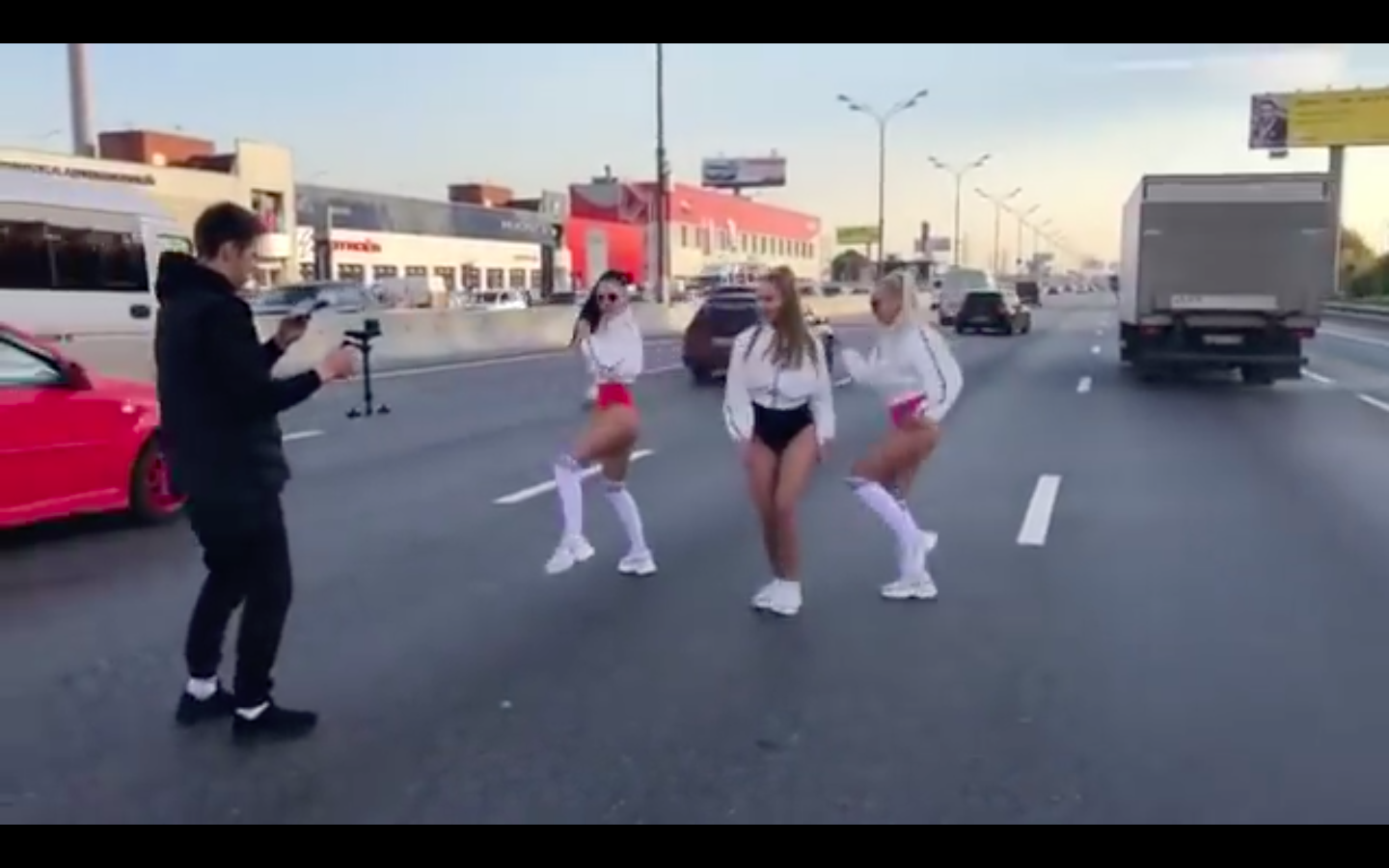 Video: Only In Russia...Wife Of Regional Deputy Creates Traffic Jam On Expressway To Twerk...No Really