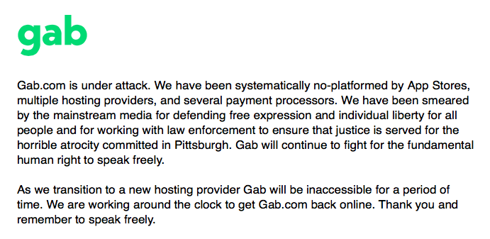 Free-Speech Social Media Site Gab Deplatformed By Coordinated Attack By Big Tech
