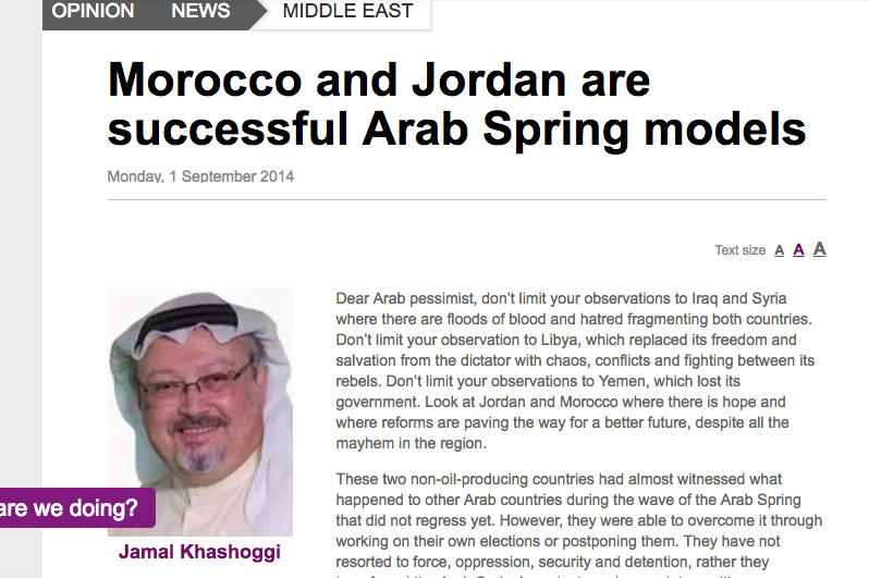 Khashoggi writing about the Arab Spring in 2014 at Al-Arabiya