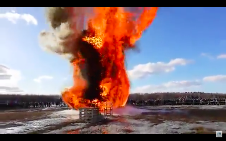 Russia Maslenitsa Festival Lives Up To Occasion As Towers Burn And Pancakes (Blini) Eaten