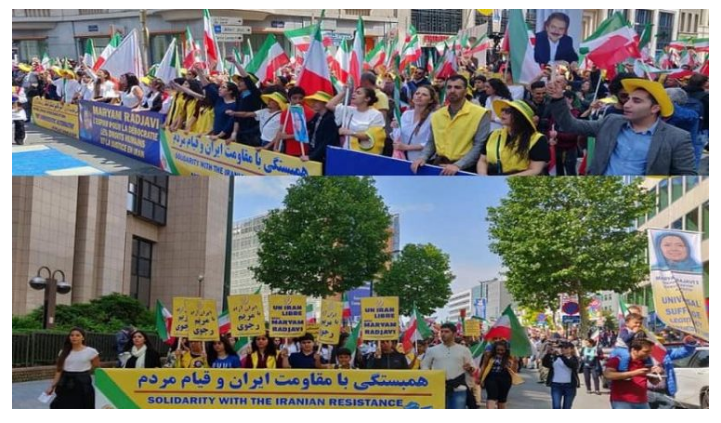 "Iranian Resistance March In Brussels - We Support a ""Free Iran""."