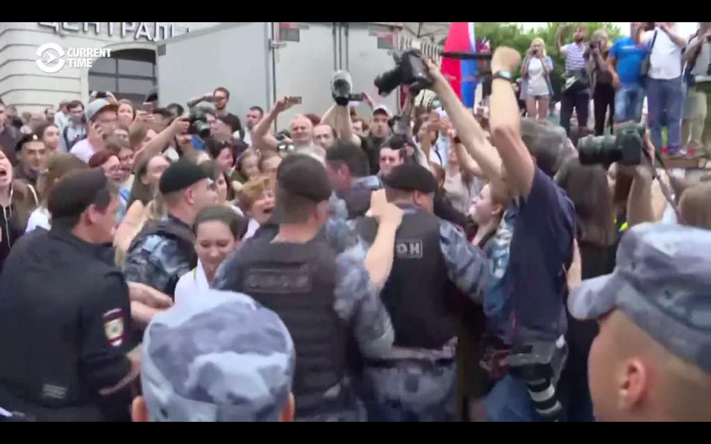 Hundreds Detained As Protesters Maintain Pressure Following Russian Journalist's Release