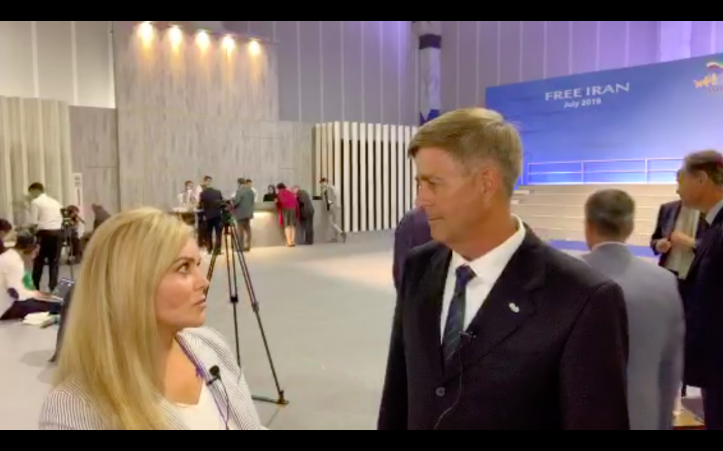 Debbie Aldrich Interviews Retired General David Phillips During #FreeIran MEK Summit Albania