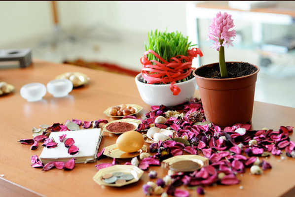 """Nowruz marks the first day of the Iranian calendar and the New Year. People participate in the Nowruz celebrations and traditional Iranian Spring Festival. Spring starts in the Northern Hemisphere at 4:49 is Friday, March 20th of 2020.  The beginning of this spring and the new year is a pain since last year for the Iranian people suffered amid the spread of the disaster-stricken Coronavirus in 198 cities with 7000 dead (according to the main opposition NCRI ), the crackdown of their protests in November with 1500 killed, the downing of Ukrainian a passenger plane with 176 dead, economic hardships and poverty, corruption and Incompetency of the authorities in response to floods and natural disasters. But Iranian citizens are celebrating the new year even with a small seven-seater table. They  hope that this year will be the last year of Mullahs.  """"Haft Seen"""" literally translates into Seven items starting with the letter """"S"""" in the Persian alphabet.  The traditional table includes flowers, a crystal bowl with swimming goldfish, a mirror, candles, painted eggs, the Holy Quran, and seven food items beginning with the letter """"S"""" in the Persian alphabet."""